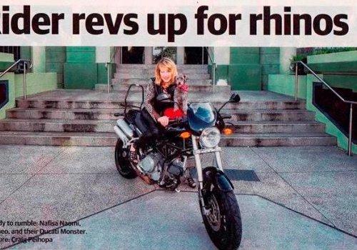 Rider revs up for rhinos