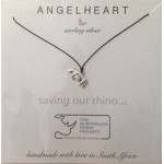 Angel Heart rhino charm on black silk