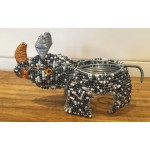 Beaded Black and White Rhino Shaped Tea Light Holder